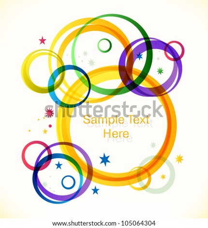 Text banner with multicolor rings