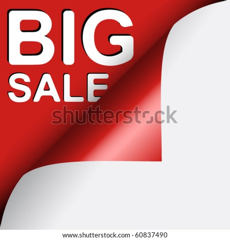 Text BIG SALE under red curled corner of page