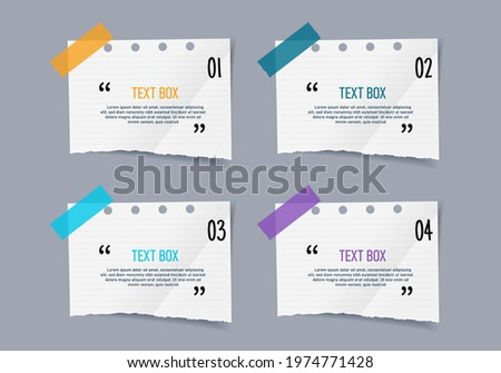 Text box design with notepapers sticker design element. Stock photo ©