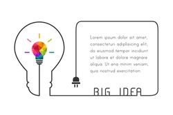 Text box template with big idea concept. Lightbulb and wire forming a lightbulb shape. Vector illustration.