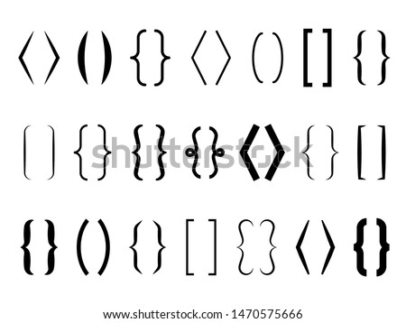 Text brackets. Curly braces, square and corner parentheses. Bracket punctuation shapes for messages. Vector calligraphy communication typography symbols
