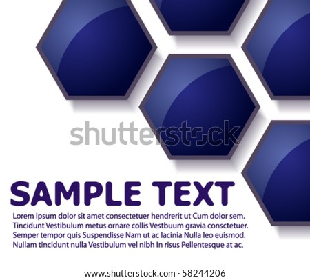 Text brochure with blue hexagons