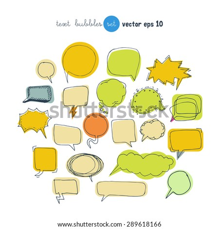 Text bubbles colored forms set vector illustration