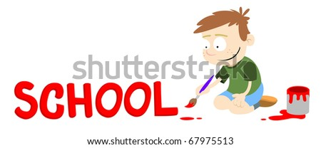 Text caption for a letter, newsletter etc. A boy painting the word 'School' in red paint. Vector graphic.