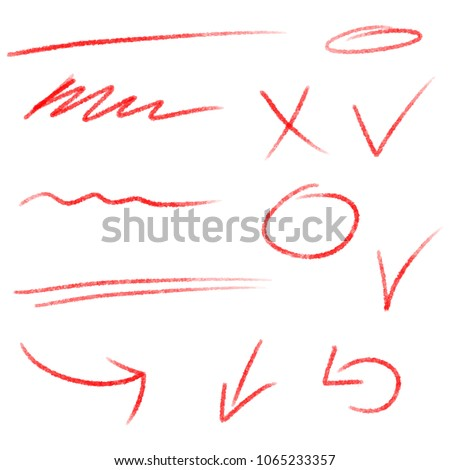 Text correction and highlighting elements. Cross, arrows, check marks, circles and lines.  Vector underline symbols