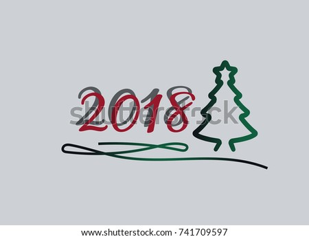 Text Design Happy new year 2018. Flat stock vector illustration. EPS 10