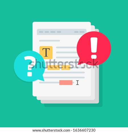 Text document file chat commenting or editing docs online vector notice flat cartoon, shared file collaborated with highlighted text editor and chat comments notifications, concept of docs share