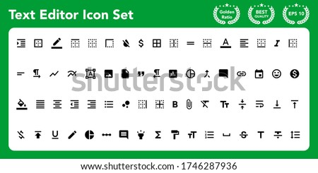 Text editor icon set. Get these awesome material icon set. Photo stock ©