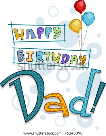Text Featuring Birthday Greetings For Dad Stock Vector