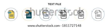 Text file icon in filled, thin line, outline and stroke style. Vector illustration of two colored and black text file vector icons designs can be used for mobile, ui, web