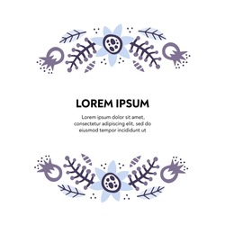 Text floral frame hand drawn vector template. Decorative border with bloom, blossom. Inflorescence cartoon illustration with copyspace. Postcard, greeting card, invitation design element