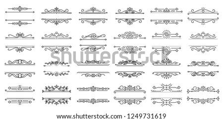 Text Frame thin line icons set. Outline sign border ornament kit. Vintage Design linear icon collection monogram elegant decor, ornate pattern. Simple black contour symbol isolated vector Illustration