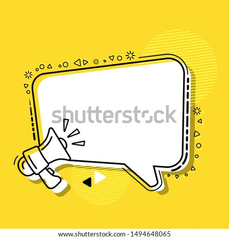 Text frame with loudspeaker sign modern design vector illustration. Dialog bubble megaphone isolated on yellow background.