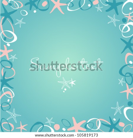 Text frame with rose, aquamarine and white sea-stars and stones