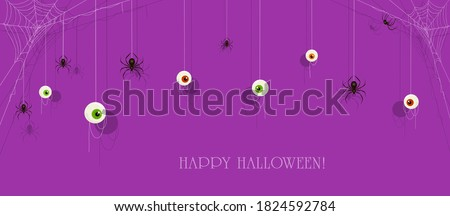 Text Happy Halloween on purple banner with scary eyes and black spiders on cobwebs. Illustration can be used for holiday cards, backdrops, children's clothing design, invitations and banners. Photo stock ©