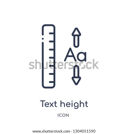 text height icon from user interface outline collection. Thin line text height icon isolated on white background.