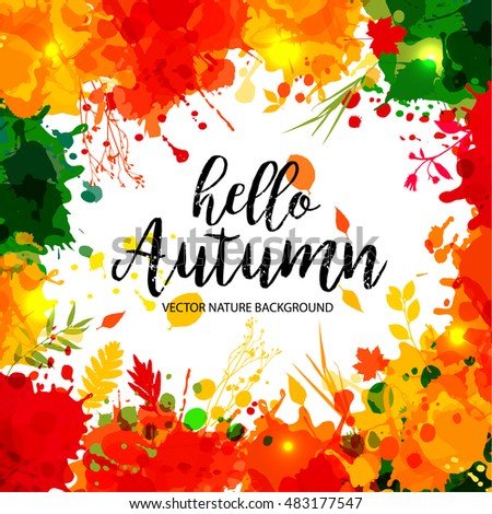 text hello autumn in frame in
