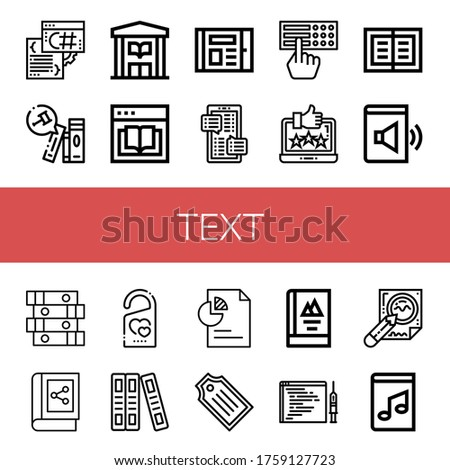 text icon set collection of