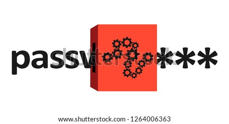 Text is encrypted and encoded into password and passcode - cipher machine for encryption and encoding. Code as tool for protection and safety. Vector illustration