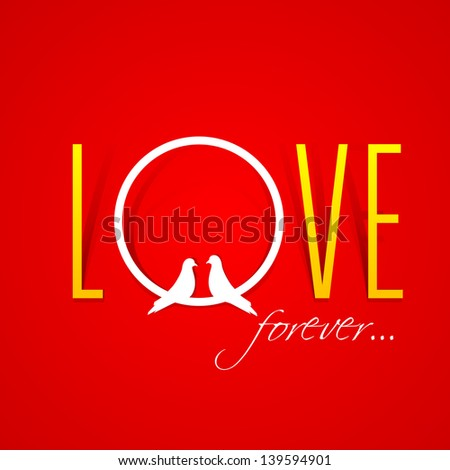 text love forever over red