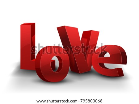 Text LOVE with red letters and shadow, isolated on white background. Vector illustration
