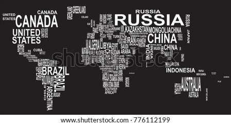 text map of the world with