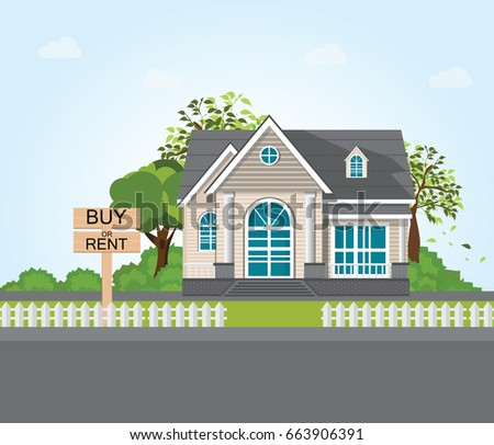 Text message Buy or rent on wooden signpost on modern house and tree background. conceptual real estate vector illustration.