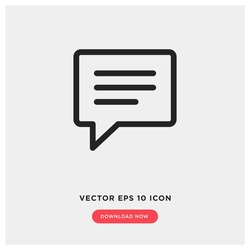 text message vector icon, speech bubble symbol. Modern, simple flat vector illustration for web site or mobile app
