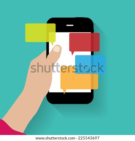 text messaging flat  concept