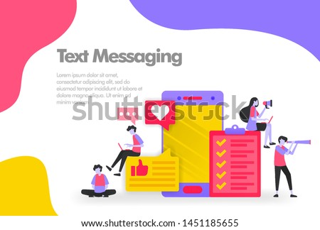 Text messaging Illustration Concept, send and receive messages. Modern flat design concept for Landing page website, mobile apps ui ux, banner poster, flyer brochure, web print document. Vector EPS 10