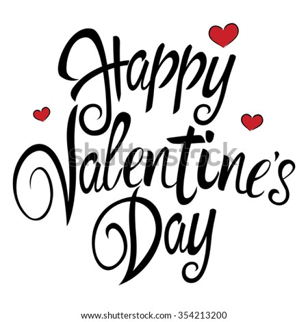 Text Of Happy Valentines Day With Decorative Heart Symbols For
