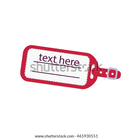 text on a red luggage tag illustration isolated in a white background