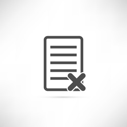 Text or file delete icon in simple outline design. EPS10 vector illustration.