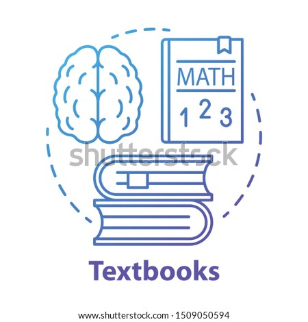 Textbooks blue concept icon. Educational literature idea thin line illustration. School and university subjects classbooks. Study & learning books. Vector isolated outline drawing