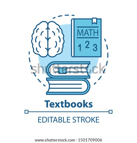 Textbooks concept icon. Educational literature idea thin line illustration. School and university subjects classbooks. Study & learning books. Vector isolated outline drawing. Editable stroke