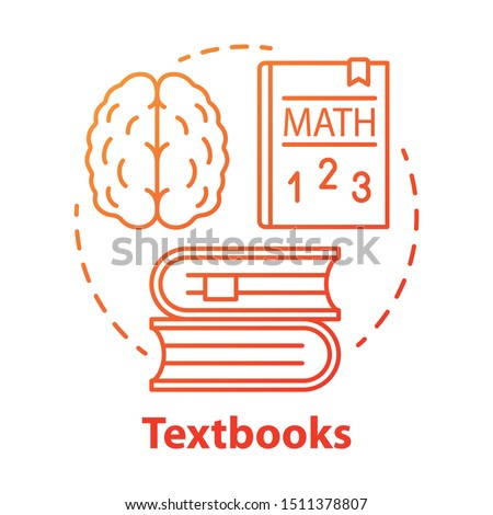 Textbooks red concept icon. Educational literature idea thin line illustration. School and university subjects classbooks. Study and learning books. Vector isolated outline drawing