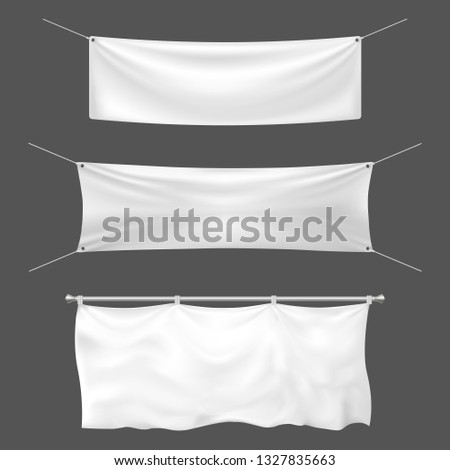 Textile banner mockup. Empty sign banner, hanging blank white banners and announcement canvas signs. Fabric banner, textile realistic placard. 3d template vector illustration isolated icons set