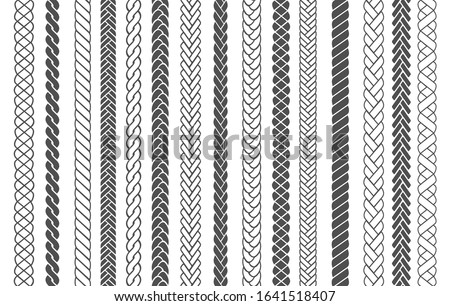 Textile braids. Braid and plait fashion patterns vector illustration for brushes, black braided threads or knitting ropes images seamless designs for fabric ornaments decoration Stock foto ©