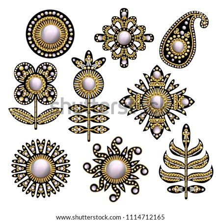 Textile embroidered patches with sequins, beads and pearls. Vector illustration.