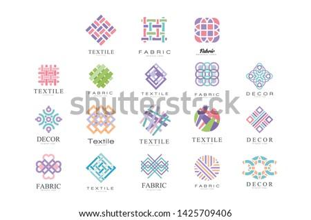 Textile, Fabric, Decor Logo Design Set, Tailor Shop, Sewing, Tailoring Industry Design Element Vector Illustration