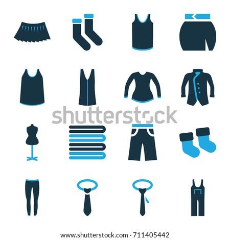 textile icons set set of 16