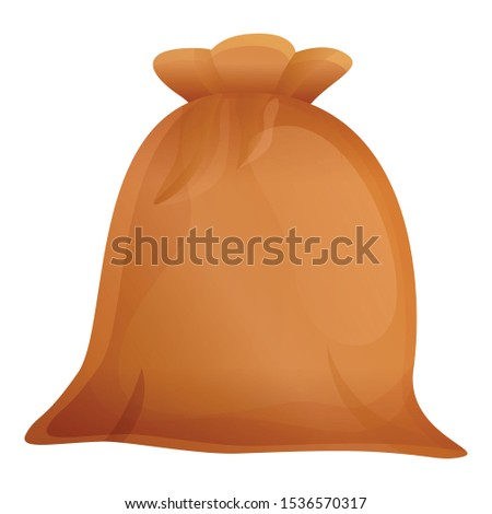 Textile material sack icon. Cartoon of textile material sack vector icon for web design isolated on white background