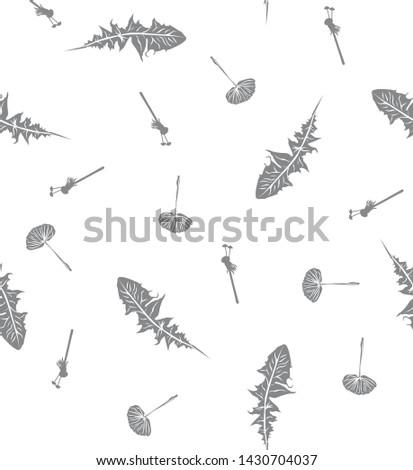 Textile pattern grahpic monochrome of a dandelion