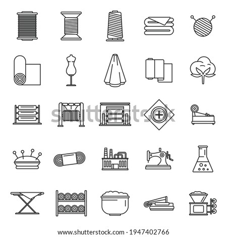 Textile production factory icons set. Outline set of textile production factory vector icons for web design isolated on white background