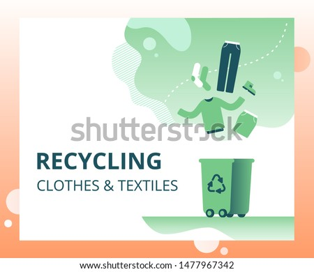 Textile waste recycling concept for landing page, template, ui, web. Old clothing and fabric for repurpose and re-use. Foto stock ©