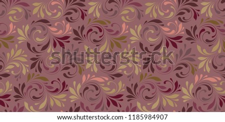 Textiles floral pattern. Elegance line ornament fol design plant texture. Decorative fashion background for fabric, wrapping, paper and wallpaper. Swirly flowers print.