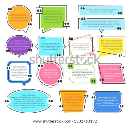 Texting boxes. Quote text design info boxes quotation bubble blog quotes symbols. Speech citation balloons, remark frame vector set