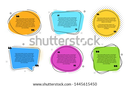 Texting boxes template. Quote text design info boxes. Quotation chat bubbles. Post citation with quotes. Speech citation balloons. Comment bubble template. Vector badges set