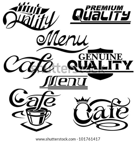 textual design elements. Collection of Premium Quality, cafe and menu textual designs