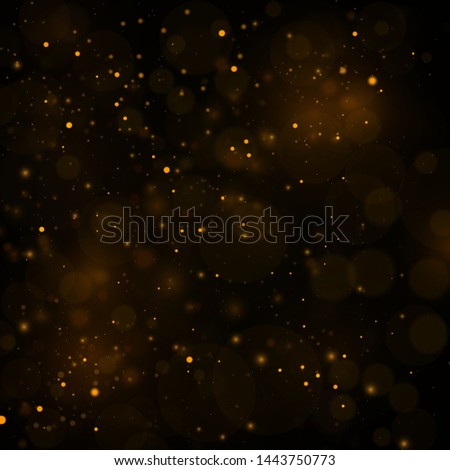 Texture background abstract black and gold Glitter and elegant for Christmas Dust white. Sparkling magical dust particles Magic concept Abstract background with bokeh effect. Vector  #1443750773